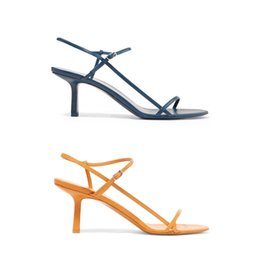 yellow blue shoes high heel Coupons - 2019 luxury Designer T-strap High-heeled sandals Women Summer Bare Letters Sandals Top quality Dress Wedding Shoes Sexy Party shoes 35-41
