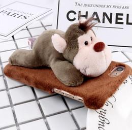 Canada Hiver chaud mignon poupée en peluche singe âne enclin coque dure étui pour téléphone portable housse de protection pour iPhone Offre