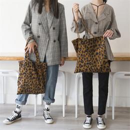 Borsa a tracolla stampa leopardo velluto a coste vintage moda leopardo tote borse a mano donna signore casual shopping shopper borse borsa mma1736 da