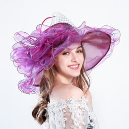 fascinador formal Desconto Mulheres Organza Kentucky Derby Fascinator Nupcial Do Chá Festa De Casamento Do Chapéu de Vinte Partes igreja Ocasião formal Floral chapéus