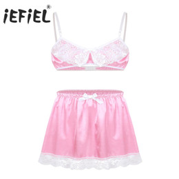 Sutiã deslizante para mulheres on-line-iEFiEL Mulheres Lace Sissy Femininas Set Lingerie Babydoll Deslize Hommes Spaghetti Bra Top com Short Skirt Gay Sexy Underwear