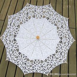 Солнцезащитные зонты из хлопка онлайн-Yesello Vintage Sun Ручной Хлопок Вышивка Белый Бежевый Кружевной Зонтик Зонтик для женщин Свадебный Декор