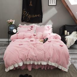 2020 ropa de cama de estilo princesa rosa Princess Style Solid 4pcs Juego de cama Funda nórdica Sábana bajera de cama plana Fundas de almohada Rosa Fresa Corazón Girasoles Verde oscuro rebajas ropa de cama de estilo princesa rosa