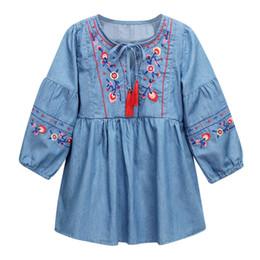 T-shirt fashion bébé fille Vêtements fille style ethnique dentelle brodée dentelle frangée à manches longues robe bébé ? partir de fabricateur