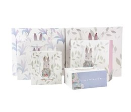 Розовые подарочные сумки онлайн-Rabbit Printed Paper Gift Bag with Handle Cute Cartoon Rabbit Bunny Easter Gift Candy Bag Pink Blue