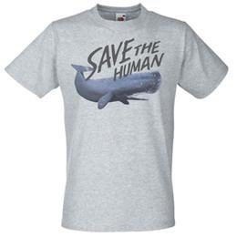 pantaloni grigi grigio camicia Sconti Mens Gray Save The human T-Shirt Campagne Divertenti Blue Whale Tshirt Taglia Discout Hot New Tshirt Fan Pants T Shirt