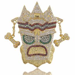 ciondoli personalizzati da uomo Sconti New Iced Out UKA Maschera Pendente solido Collana Mens Personalizzato Micro pavimentato Hip Hop Oro Argento Colore Bling Charm Catene Gioielli