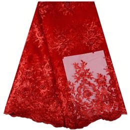 Rote Farbe Tüll Neueste Afrikanische Französisch Spitze Stoff Mit Perlen Und Steinen Hochwertige Nigerianische Spitzenstoffe Für Hochzeit S938 von Fabrikanten