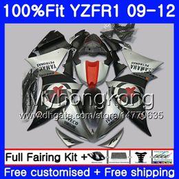 Kit de carenado yzf r1 plata online-Inyección para YAMAHA YZF 1000 R 1 YZF-1000 YZFR1 09 10 11 12 241HM.13 YZF R1 YZF1000 YZF-R1 Mate plata caliente 2009 2010 2011 2012 Fairing Kit
