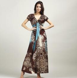 2020 codice di abbigliamento bohemiano fashion Donna Abbigliamento donna Summer new Maxi abiti Bohemian dress Big code Ice silk Dress I più venduti codice di abbigliamento bohemiano economici