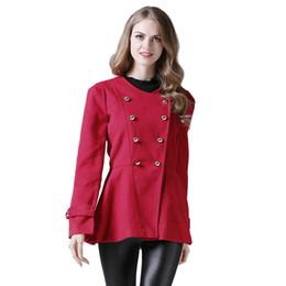 Herbst Winter Casual Frauen Zweireiher Langen Wollmantel Büro Dame Große Taschen A line Schlank Red Outwear Wollmischungen