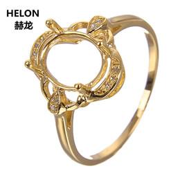 diamantes semi montagem Desconto Sólido 10k Yellow Gold Natural Diamantes Anel de Noivado de Casamento para As Mulheres 7x9mm Oval Cut Semi Mount Anel de Ajuste Na Moda