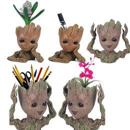 Tree Man Matita Portapenne Flower Pot Guardiani della Galassia Flowerpot Baby Action Figures Modello carino Office Desk Organizer Storage Box da