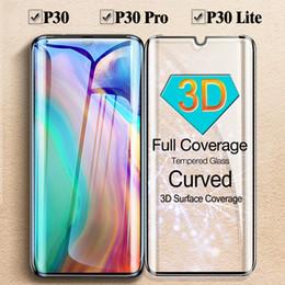 2019 iphone flim avant Protecteur en verre trempé pour Huawei P30, P30 Fullfill, courbe 3D ou droit ou protection