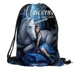 Рюкзак большой рюкзак онлайн-Custom Unicorn Horses Drawstring Bag Silk Soft Bag Large Sapacity Custom Logo Printing Backpack More Size