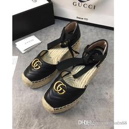 chaussures de mariage de plage noir Promotion Mode Sandales plateforme chaussures pour femmes de poids léger de chaussures pêcheur ficelle cravate croix tissage lacets chaussures pêcheur boîte