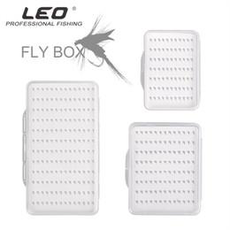 mosca, peixe, ganchos Desconto Leo Fly Hook Box 28055 Caixa de Gancho De Pesca Com Espuma De Pesca À Prova D 'Água À Prova D' Água de Pesca Artesanato Transparente S M Tamanho L Pesca