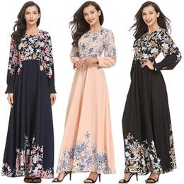 2019 vestidos de quimono de comprimento completo Elegante Chiffon Maxi Vestido de Impressão Abaya Comprimento Total Muçulmano Longo Robe Vestidos Kimono Ramadan Oriente Médio Árabe Vestuário Islâmico T4190615 vestidos de quimono de comprimento completo barato