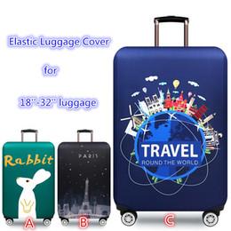 Funda de equipaje elástica online-Maleta de viaje de dibujos animados Funda de equipaje Trolley Elastic Protectors case