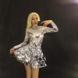 256fb0ee2fd 2019 miroirs de costumes Brillant argent miroir court discothèque une pièce  Body Costume célébrer la robe