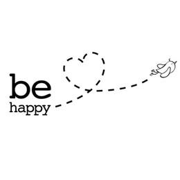 Fondos de pantalla del corazón online-Be Happy flying bird Heart Wall Sticker para habitación de niños decoración del dormitorio home art Decals wallpaper Pegatinas extraíbles