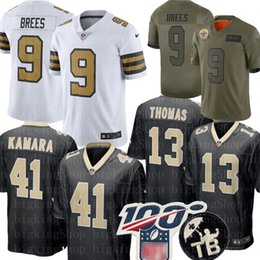Brees camisa de futebol on-line-9 Drew Brees 41 Alvin Kamara Jersey 13 Michael Thomas 23 Marshon Lattimore 7 Taysom Hill Bryant Football Jerseys
