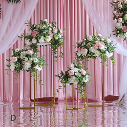 wedding centerpieces candles flowers Promo Codes - Artificial wedding party centerpiece for table stage backdrop Iron stand Road lead flower Geometric square stand silk flowers set decoration