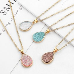 plastic slides Promo Codes - Fashion 4colors druzy drusy necklace gold plated Geometry faux natural stone resin necklace for women jewelry