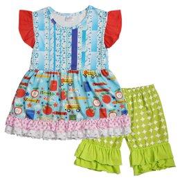Piccolo fiore del puntino online-Baby Girl Outfit Geometric Dot Little Flower Stampato Multi-piano di maniche a maniche di pizzo Stelle Pantaloni Set di due pezzi Torna a scuola vestiti per bambini