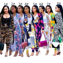 2019 ensembles de chemise de cardigan Les femmes à manches longues manteau cardigan legging tenues 2 pièces ensemble mode impression vêtements femmes ainsi que la taille des chemises klw1830