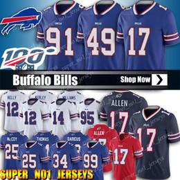 17 Josh Allen Buffalo Bill Jersey 49 Tremaine Edmunds 27 TreDavious pullover bianco 91 Oliver Jersey 34 Thurman Thomas Calcio Maglie da