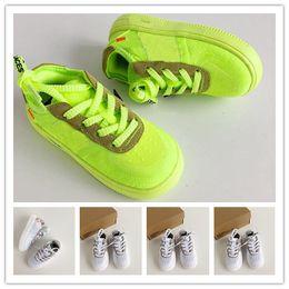 SıCAK renk Kuvvetler Çocuk Basketbol ayakkabı Bebek Erkek Kız Sneaker Toddlers Beyaz Siyah Sarı Floresan Eğlence spor ayakkabı nereden penny hardaway ayakkabıları boyutu 13 tedarikçiler