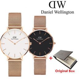Relógios de qualidade simples on-line-dw Montre féminine marca de alta qualidade senhora relógio mulher relógio simples elegante de prata elegante 32 MM de aço inoxidável relógio de quartzo das mulheres