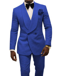 2021 mens royal blue wedding suit Royal Blue Men Hochzeit Smoking Präge Bräutigam Smoking Fashion Men Blazer 2-teiliger Anzug Prom / Dinner Jacket Custom Made (Jacke + Hose + Krawatte) 1629