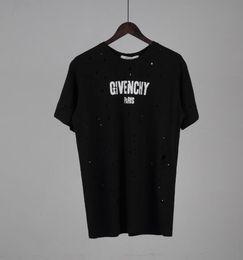 Marque Summer Designer donner Mens Tshirt Luxury Fashion col rond cassé petit trou lettre normale imprimer 5 couleur T Shirt T-shirt en coton ? partir de fabricateur