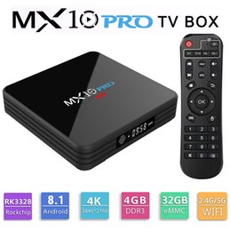 Casella multimediale digitale online-MX10 PRO TV Box con display digitale Rockchip 3328 Android 8.1 4 GB RAM 32 GB ROM 2.4G 5G WiFi Media Player BT4.1 Supporto 4K H.265