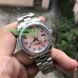 mulheres vigas Desconto Relógios de luxo Cartier Diamante Mark Shell Rosa Dial Melhor 36 milímetros presente Relógio de pulso dos Namorados Mulheres inoxidável Watche Ladies automática