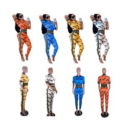 wholesale mandarin suits Coupons - Women Tracksuit Printed Letter Short Sleeve Zipper Tops + Pants Leggings 2 piece Fashion Suit Summer Outfit Sportswear Jogger Sets A32603