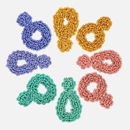 2019 pendenti africani fatti a mano Dvacaman Candy Color RoundOval Orecchini pendenti con perline Niche Chic Party Orecchini pendenti Lady Regalo per gioielli dichiarazione di nozze
