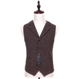 Chaleco marrón de negocios online-Nuevo Mens Casual Chaleco Marrón Patrón de esmoquin de boda Casual Lana Stitch S-4XL Fumador formal de negocios Blazer Chaleco hombre