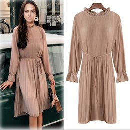 51b5b3689c5a Discount ladies mid length dresses - 2019 Spring Europe Women s Chiffon  Dress Flare Long Sleeve Mid