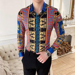 camisa magro da flor Desconto Estilo nacional retro estilo europeu de impressão de mangas compridas camisa coreano Magro boate tendência juventude masculina personalidade flor camisa