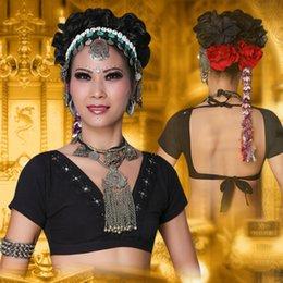 zigeuner-tops Rabatt 2017 ats tribal bauchtanz kleidung crop top choli tops v-ausschnitt backless plus größe frauen gypsy tribal dance