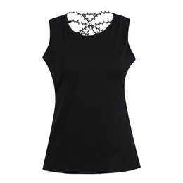 Пейсли футболки онлайн-Plus Size Lace Trim Cutwork T-Shirt Hollow Out Lace Paisley Sleeveless Casual Female T-shirts Sexy Back Holes T-Shirts
