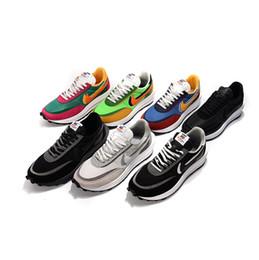 Gofre azul mujer online-Tamaño 36-44 Sacai X LDV Waffle Daybreak Trainers Zapatillas de running para hombre Para mujer hombre Negro gris Varsity Blue Gusto Zapatillas deportivas