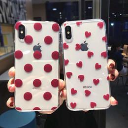 Iphone couverture en silicone points en Ligne-Transparent Vin Rouge Téléphone Cas Pour iPhone XS Max XR X 8 7 6 6 S Plus 5 5 S SE Polka Dot Amour Coeur Retour Cas Couverture Coquille
