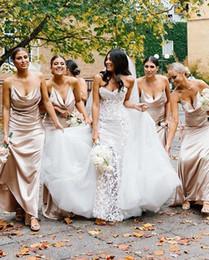 Vestidos de dama de honra de champanhe de seda on-line-Romance Champagne Da Dama de Honra Vestidos de Espaguete Elástico De Seda Como Cetim Vestidos de Dama De Honra Custom Made Convidado Do Casamento Vestidos de Festa