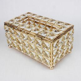 2019 scatola di corteccia Scatola di tessuto di cristallo di lusso Rimovibile Portatovaglioli Casa Sala da pranzo Decorazione Bar Tavolo KTV Decorazione Stile europeo 1 Pezzi ePacket