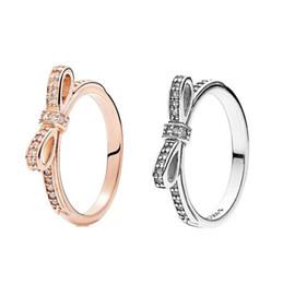 diamantes brillantes Rebajas 925 espumoso Bow Ring Set caja original para Pandora grano mujeres novia CZ Bowknot del diamante de 18 quilates de oro rosa anillo W156