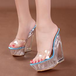 Deutschland Dwayne Sexy Sommer Mode High Heels Sandalen Hausschuhe Mules Transparente Kristall Plattform Keile Schuhe 15 CM Jelly Sandalen Versorgung